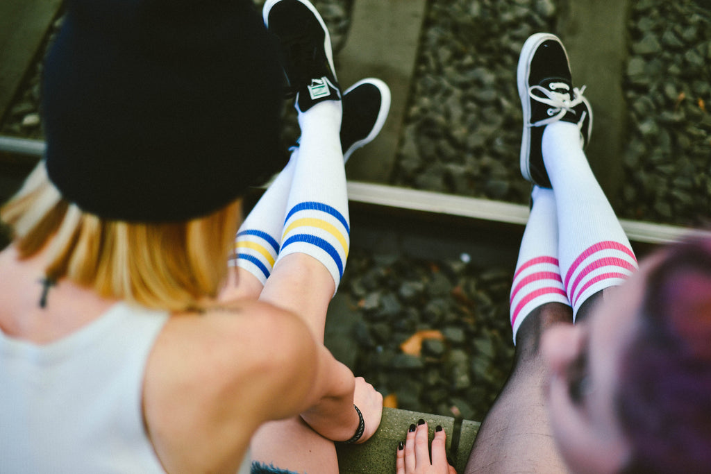 american socks barcelona socks knee high stripped socks girls
