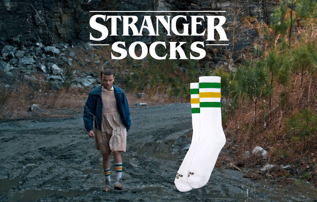 stranger things eleven tube striped socks green yellow
