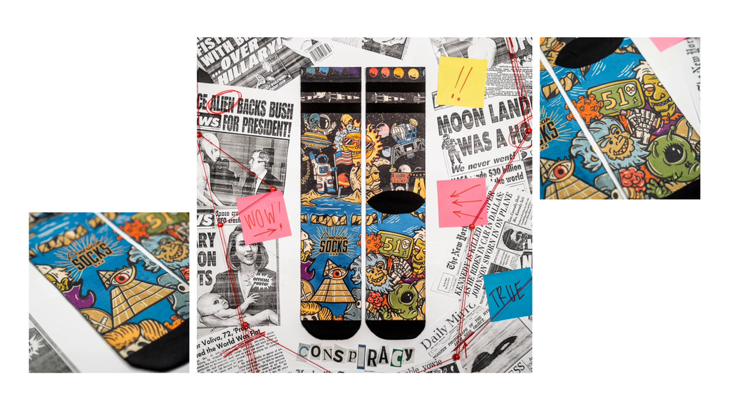 three images of the Conspiracy socks