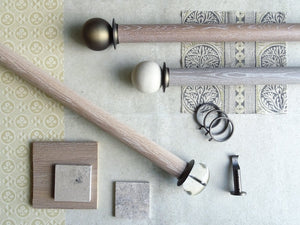 Real solid oak curtain pole sets. Limed, natural & stained finishes in 50mm diameter | Walcot House