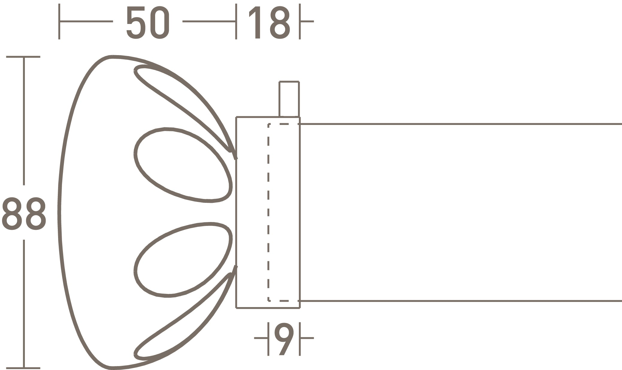 glass lunar finial dimensions