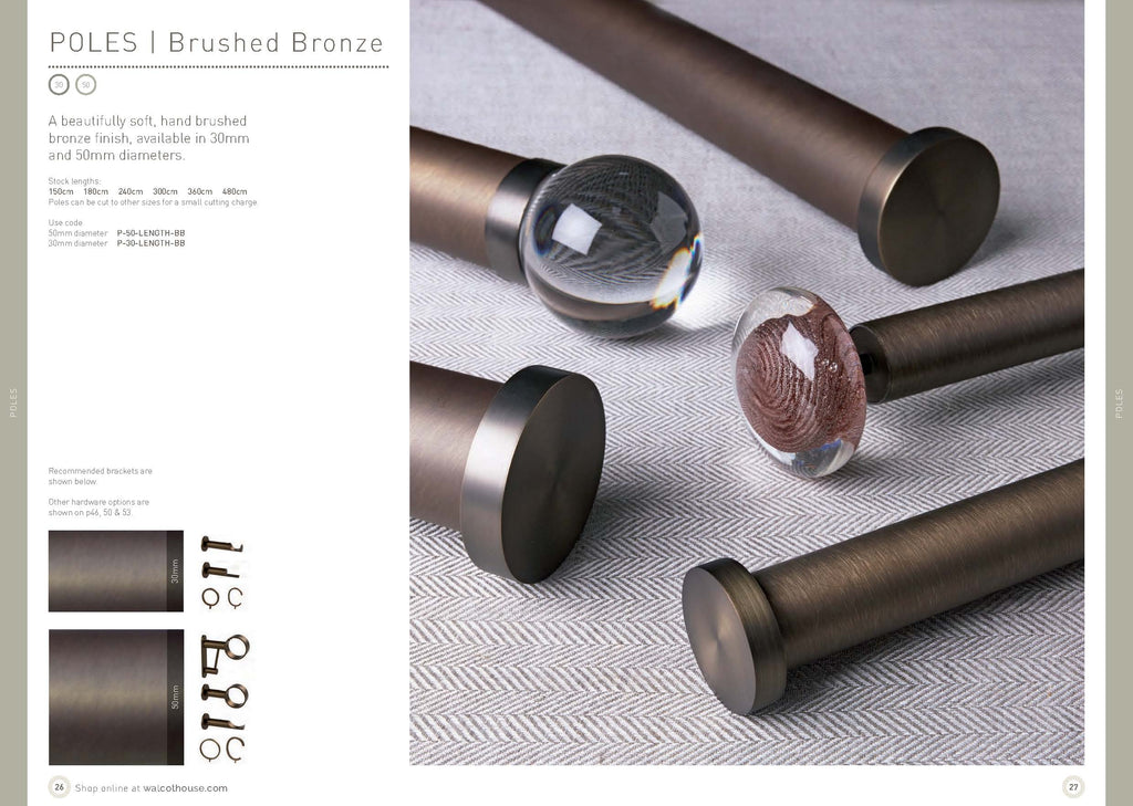 Walcot House curtain poles - Brushed bronze