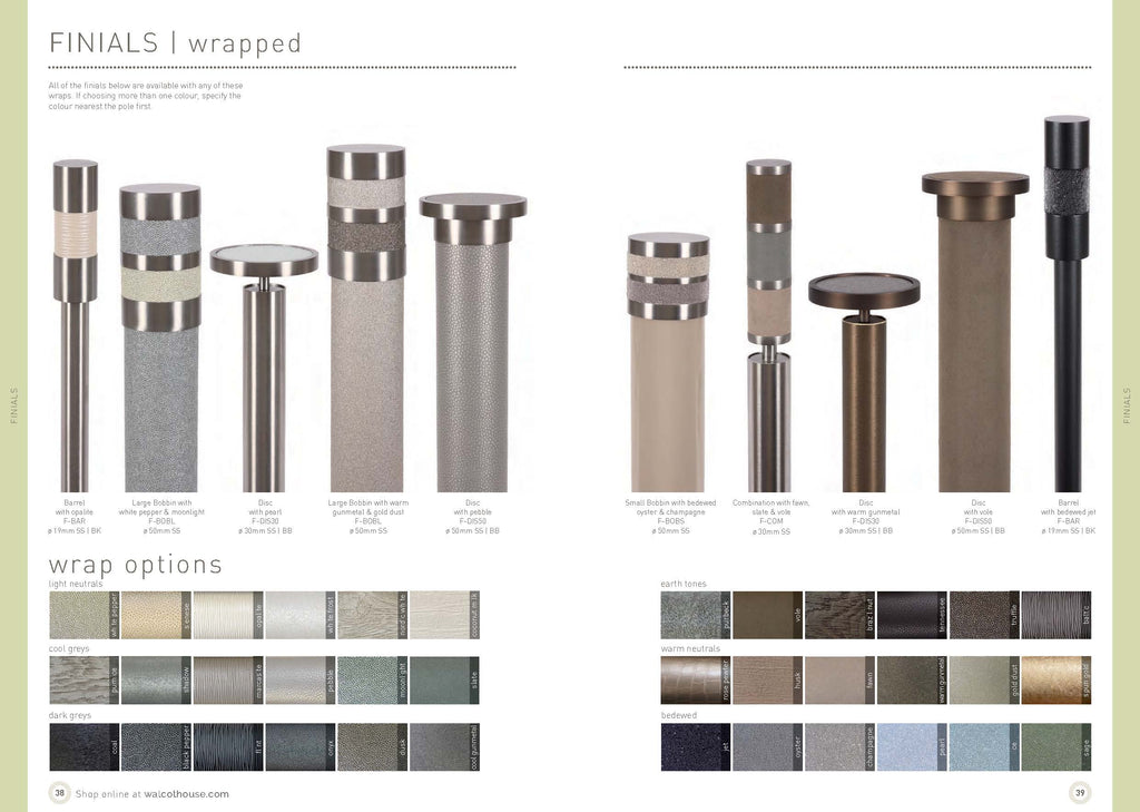 Walcot House Curtain pole finials - wrapped