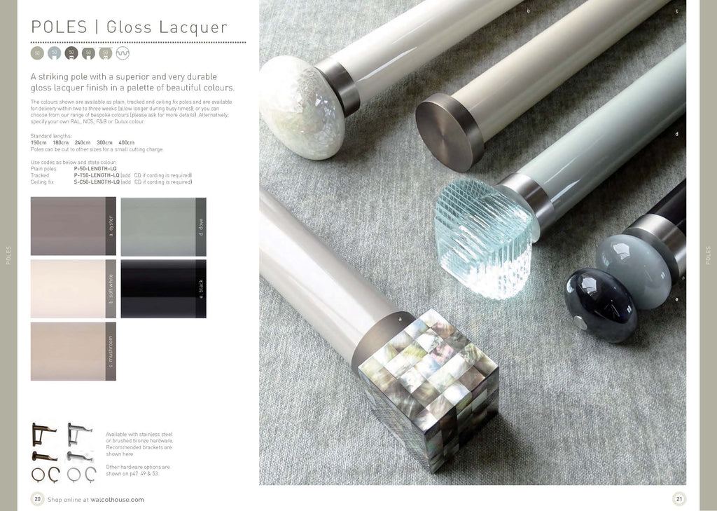 Walcot House curtain poles - Gloss lacquer