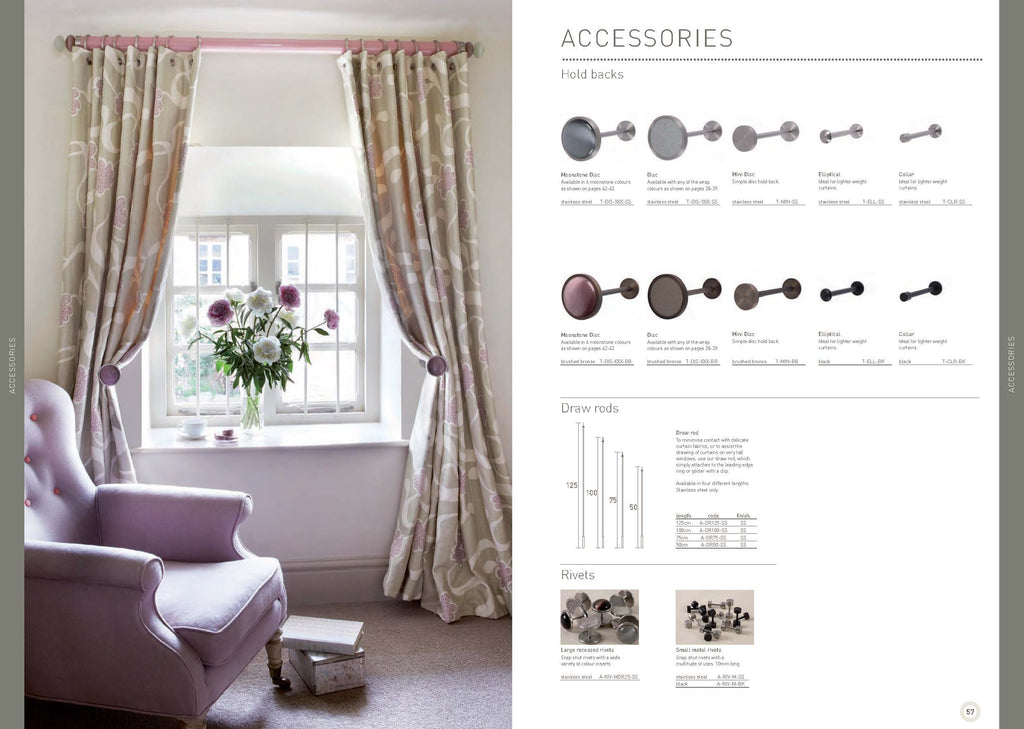 Walcot House Curtain pole hold backs and accessories
