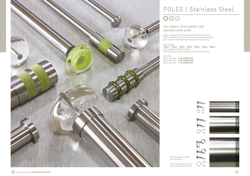 Walcot House curtain poles - 19mm, 30mm 50mm diameter stainless steel, silver, brushed nickel curtain poles and finials