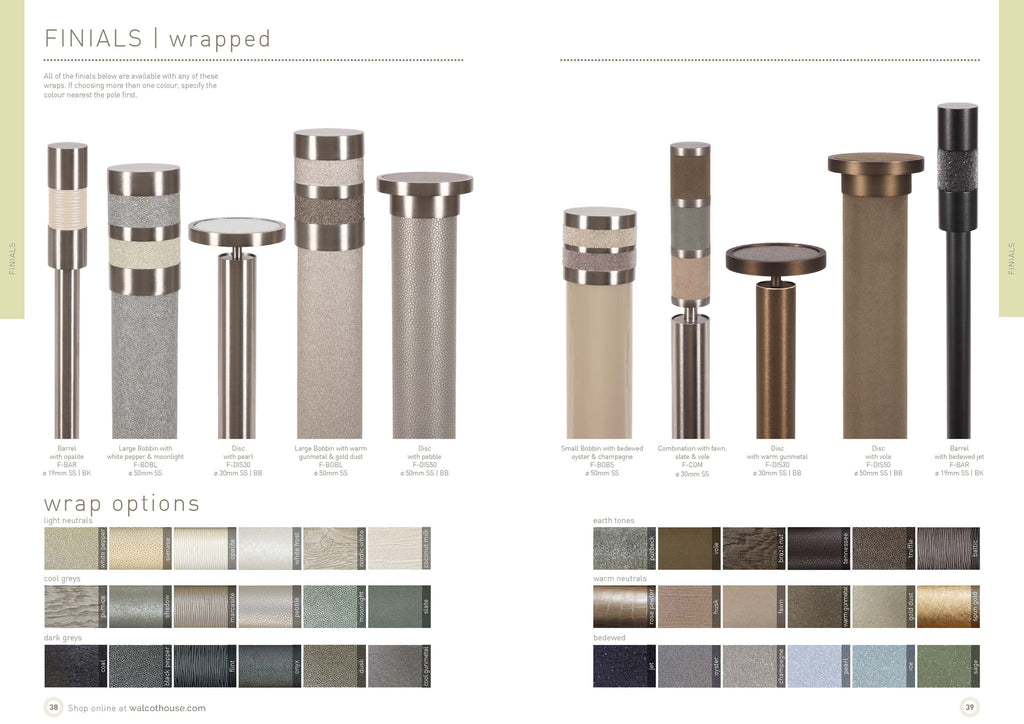 Walcot House curtain poles - Metal curtain finials with colour wraps