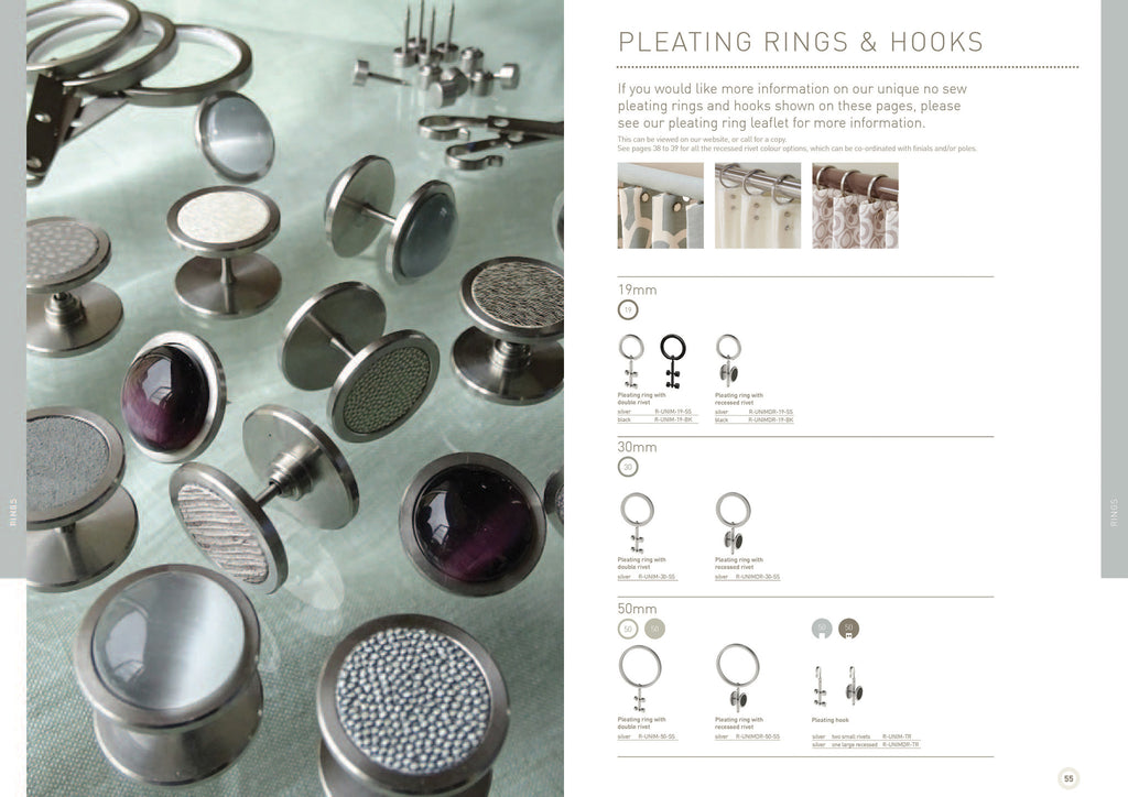 Walcot House curtain poles - curtain pleating rings, universal rings, curtain clips, curtain rivets