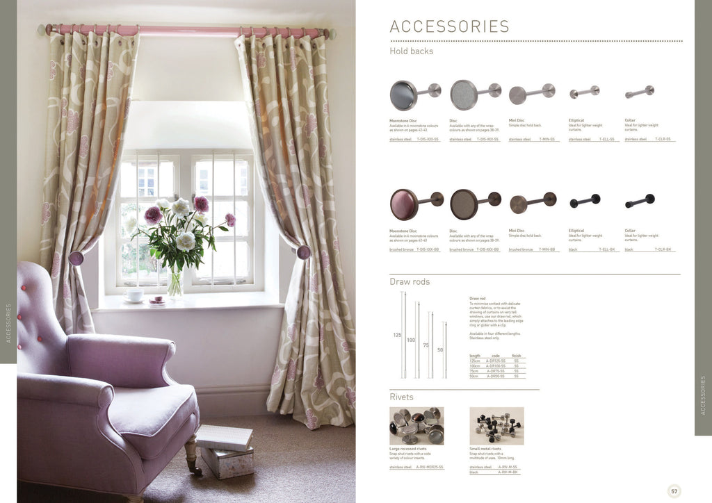 Walcot House curtain poles - curtain hold backs, holdbacks, tie backs tiebacks, ombres, curtain accessories, draw rods, rivets