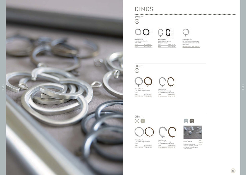 Walcot House Curtain pole rings and passing rings