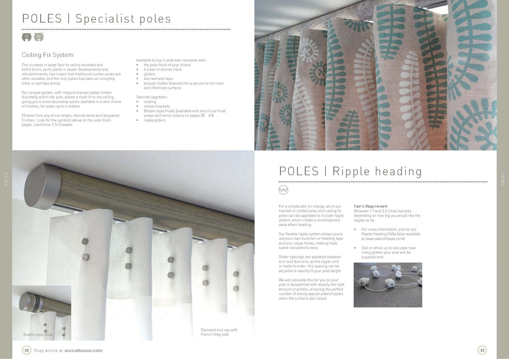 Walcot House curtain poles - specialist poles