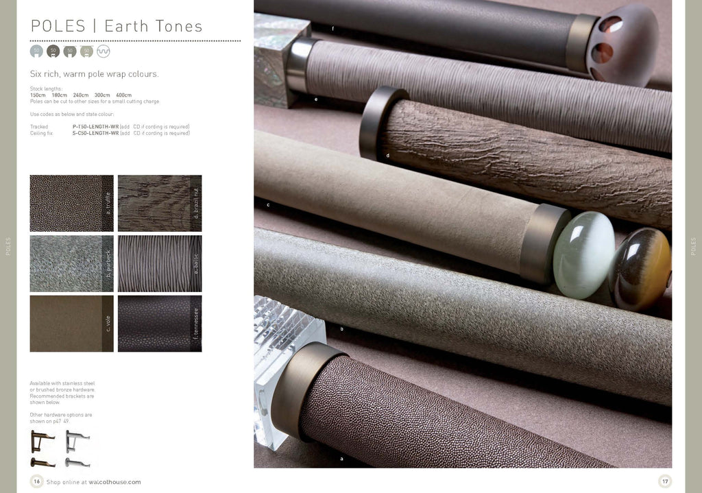 Walcot House curtain poles - Earth tones wrapped