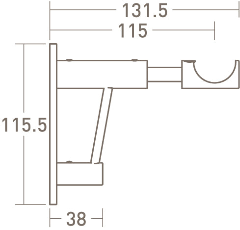 architrave upgrade for standard bracket dimensions extended - 30mm dia. pole