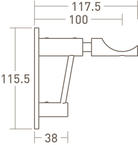 architrave upgrade for standard bracket dimensions extended - 50mm dia. pole