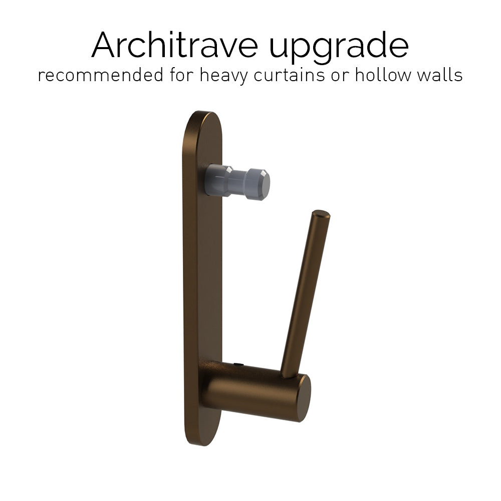 architrave upgrade for 50mm brushed bronze curtain pole bracket