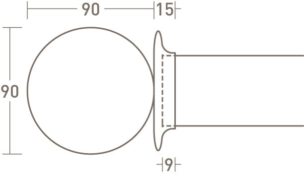 classic ball finial dimensions for 50mm dia. curtain pole