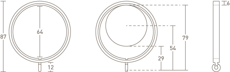 50mm curtain ring dimensions