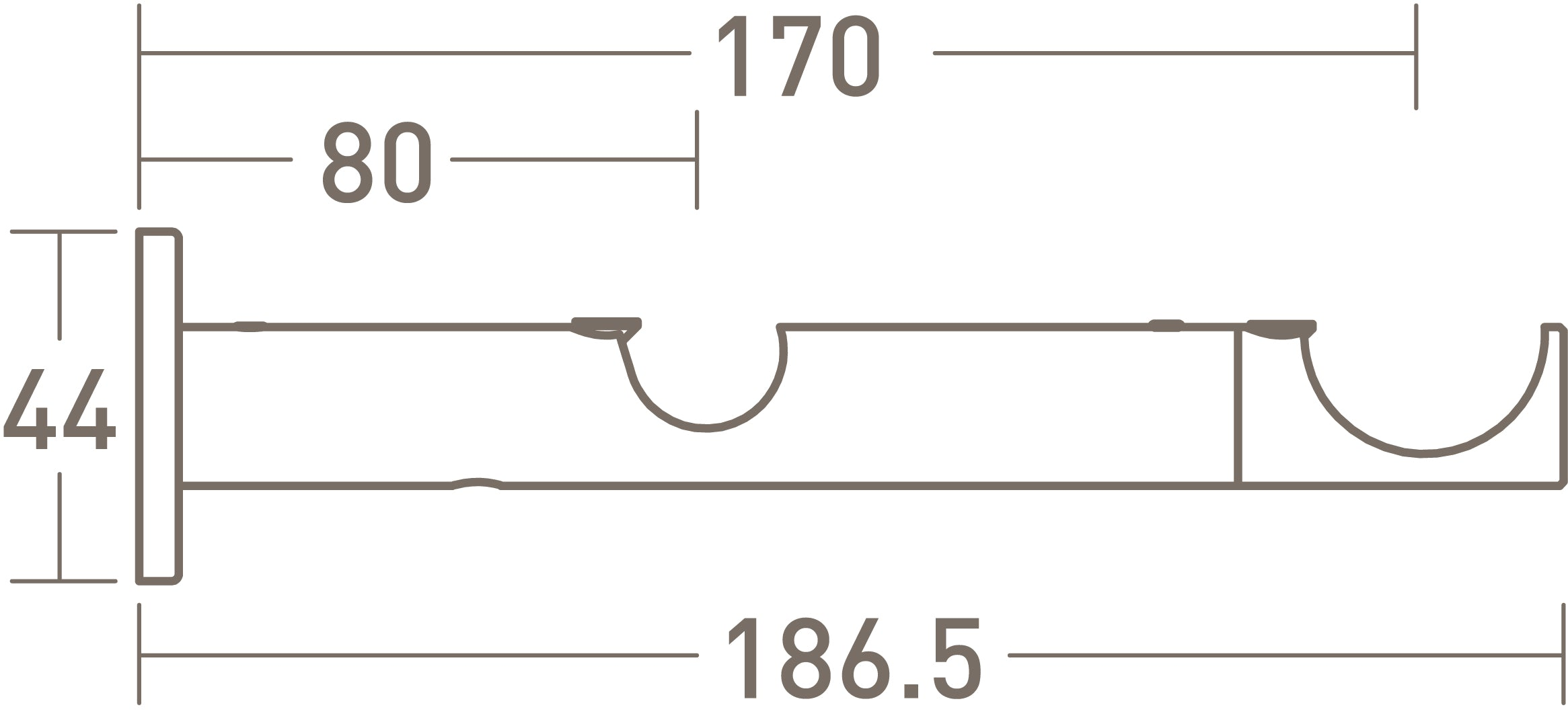 Double Bracket For 30mm Double Curtain Poles Walcot House