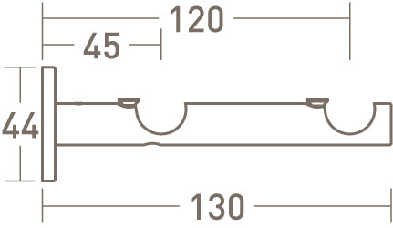stainless steel double bracket for 19mm poles by walcot house