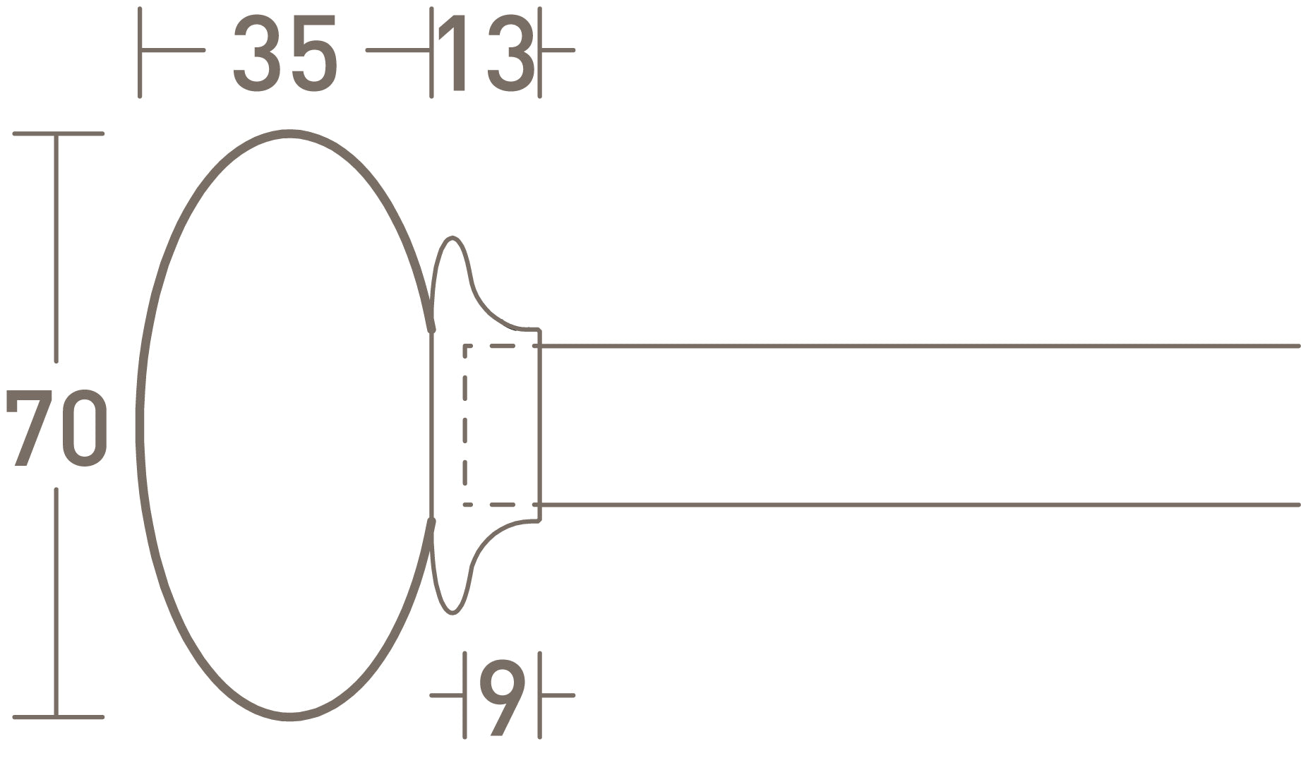 glass ellipse finial dimensions