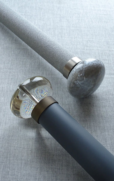 contemporary curtain poles with 50mm dia. ellipse finials