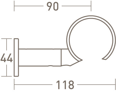 passing ring bracket for 50mm dia. tracked curtain pole