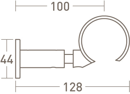 passing ring bracket for 50mm dia. curtain pole - extended
