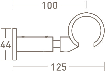 tracked connector bracket for 50mm dia. curtain pole - extended