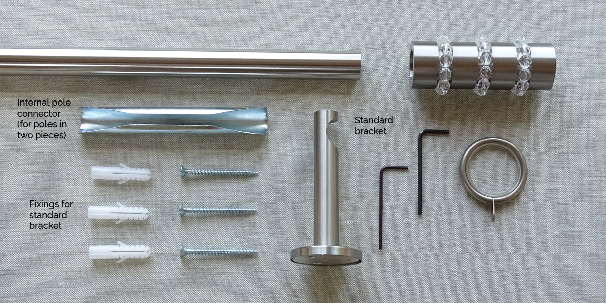 what's included 19mm stainless steel curtain pole set beaded finials