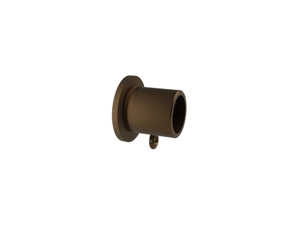 Recess bracket for 19mm diameter curtain pole in brushed bronze