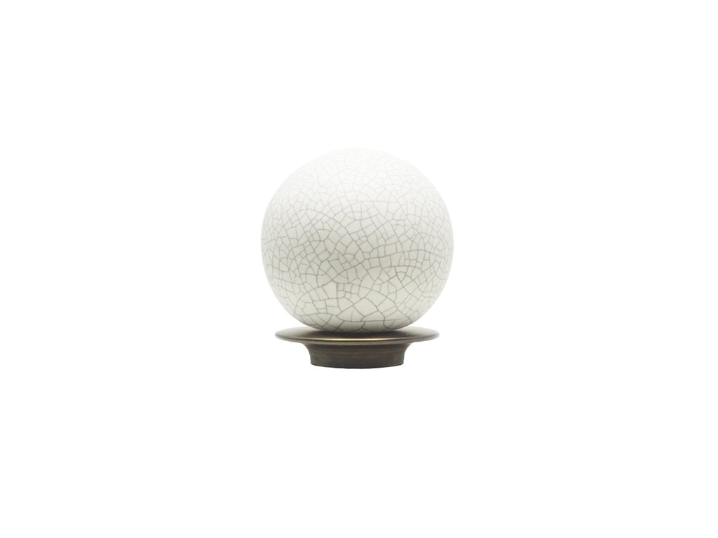 Crackle finial for 19mm dia. curtain poles with brushed bronze adapter - Profile view