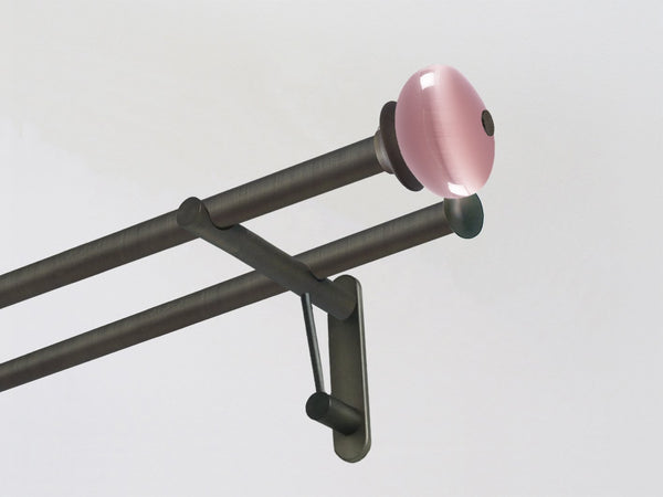 Double 19mm brushed bronze curtain pole duo system set with glass moonstone finials in Dusky Pink