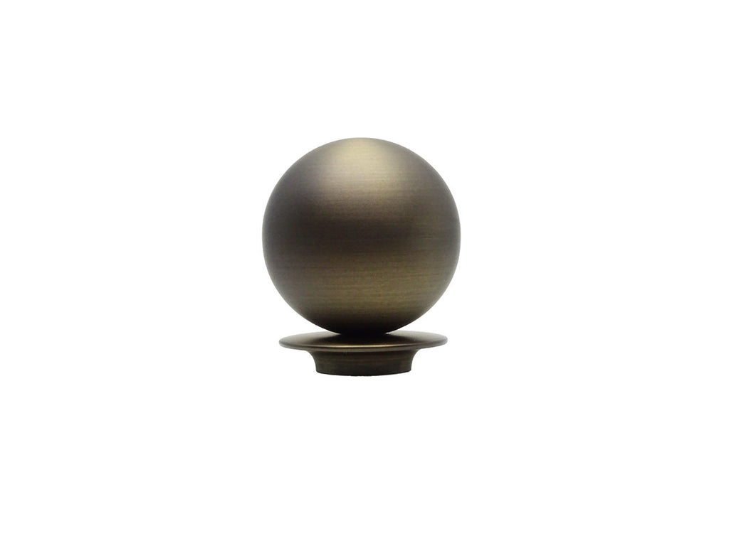Metal ball finial in brushed bronze for 19mm dia. curtain pole end