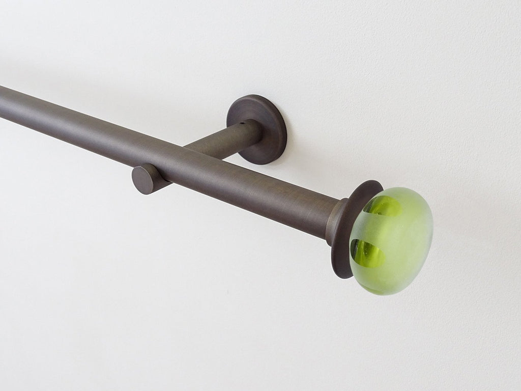 Walcot House 19mm brushed bronze metal curtain pole with mini Leaf glass lunar finials