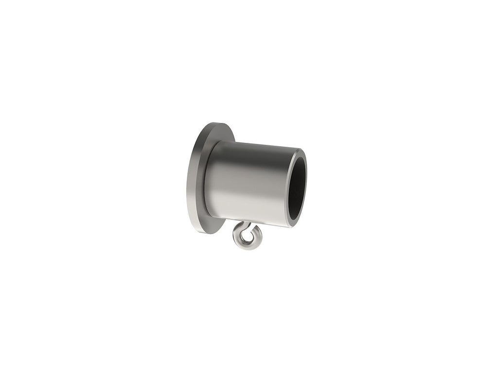 Recess bracket for 19mm diameter curtain pole in stainless steel