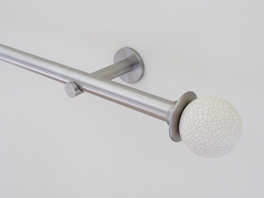 19mm diameter stainless steel curtain pole set with ceramic crackle finials, clear