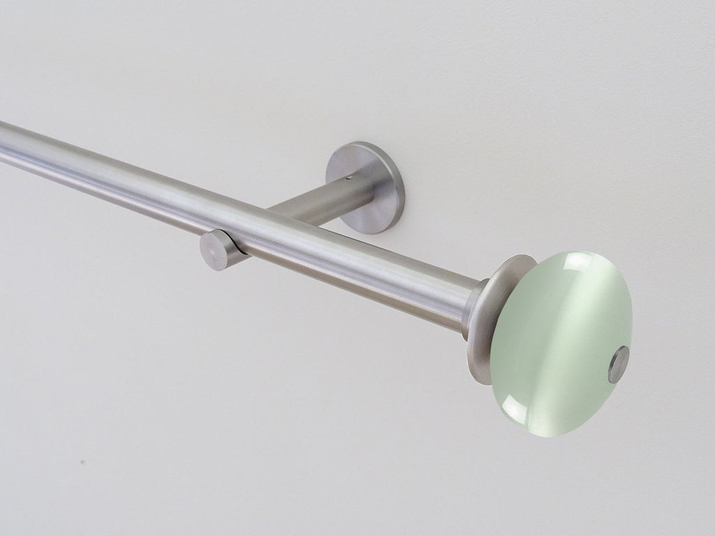 19mm dia. stainless steel curtain pole set with moonstone finials