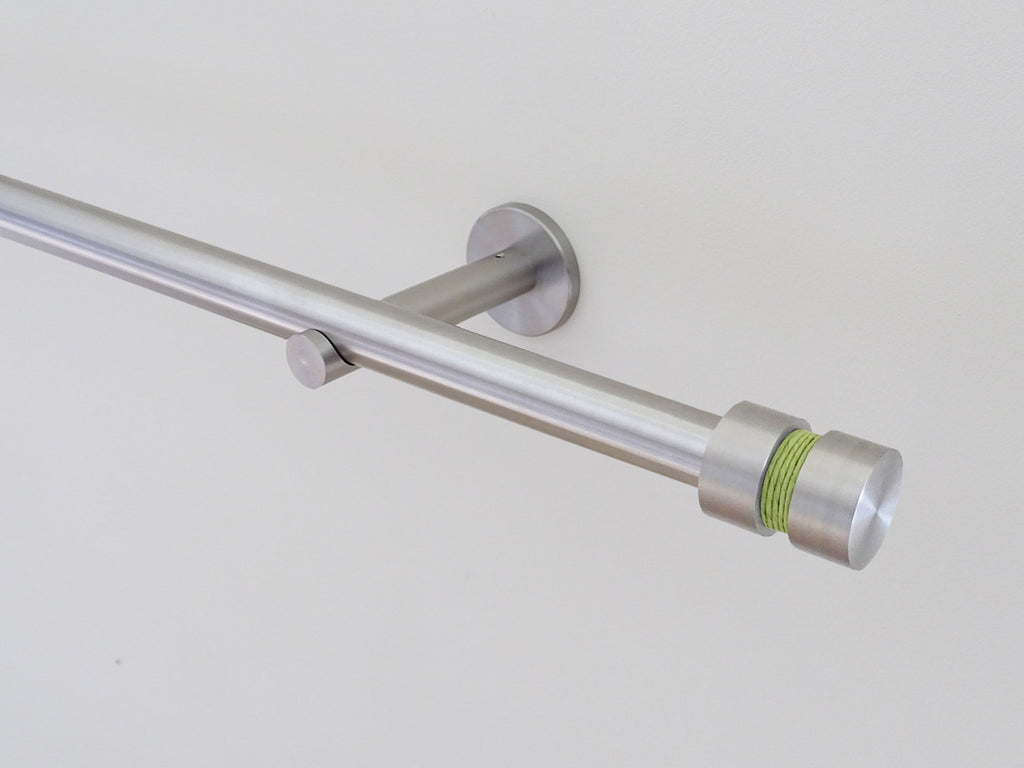 19mm diameter stainless steel curtain pole set with groove finials, avocado twine
