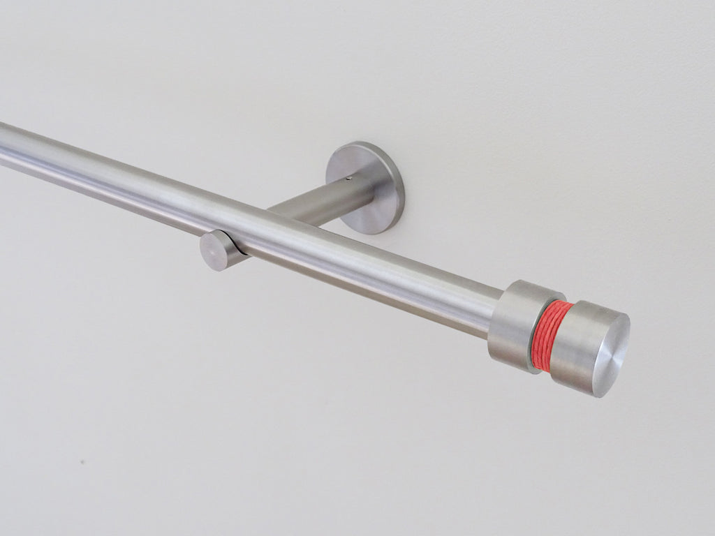 19mm diameter stainless steel curtain pole set with groove finials, coral twine