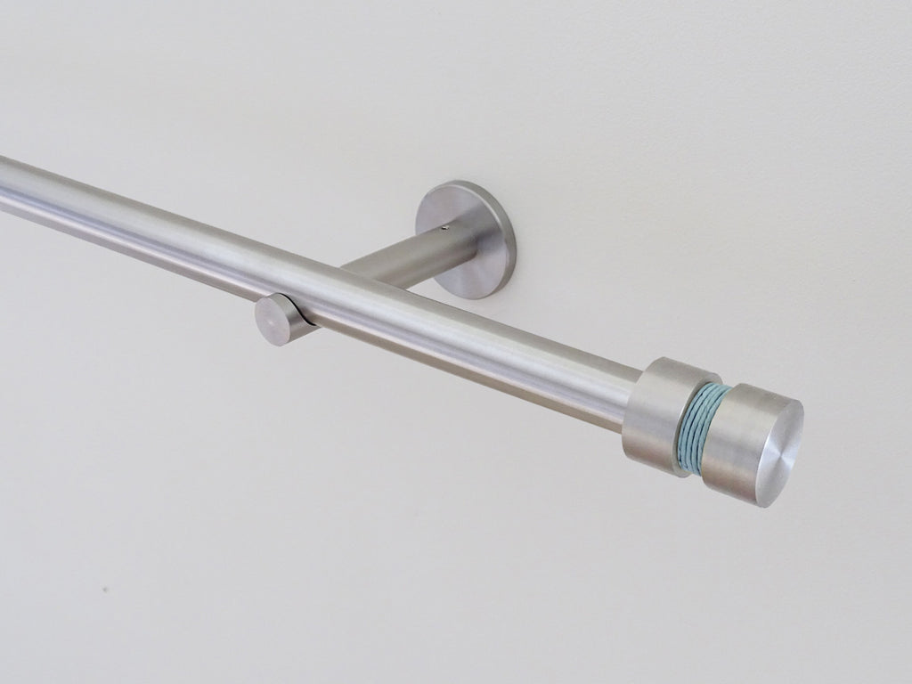 19mm diameter stainless steel curtain pole set with groove finials, mist twine