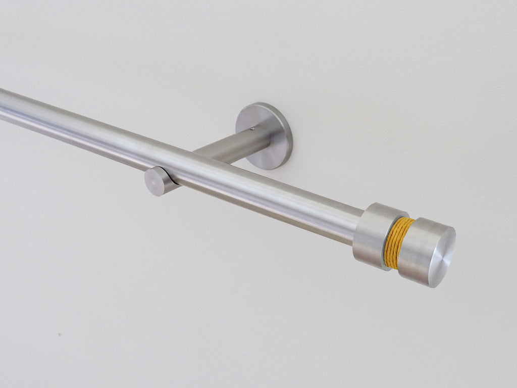 19mm diameter stainless steel curtain pole set with groove finials, ochre twine