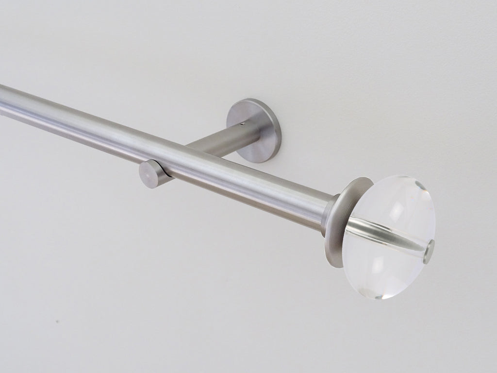 19mm diameter stainless steel metal curtain pole with elliptical acrylic finials