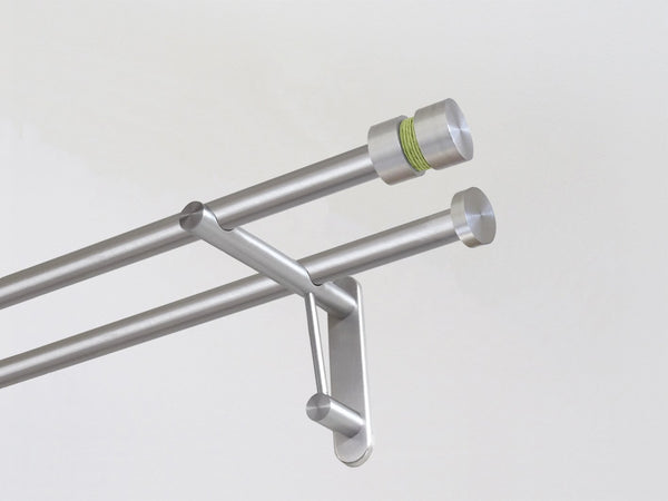19mm diameter double stainless steel curtain pole duo system set with groove finials & avocado twine