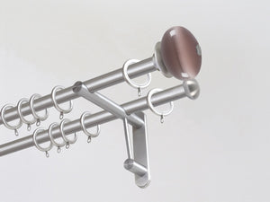 Double 19mm stainless steel curtain pole duo system set with glass moonstone finials in crocus