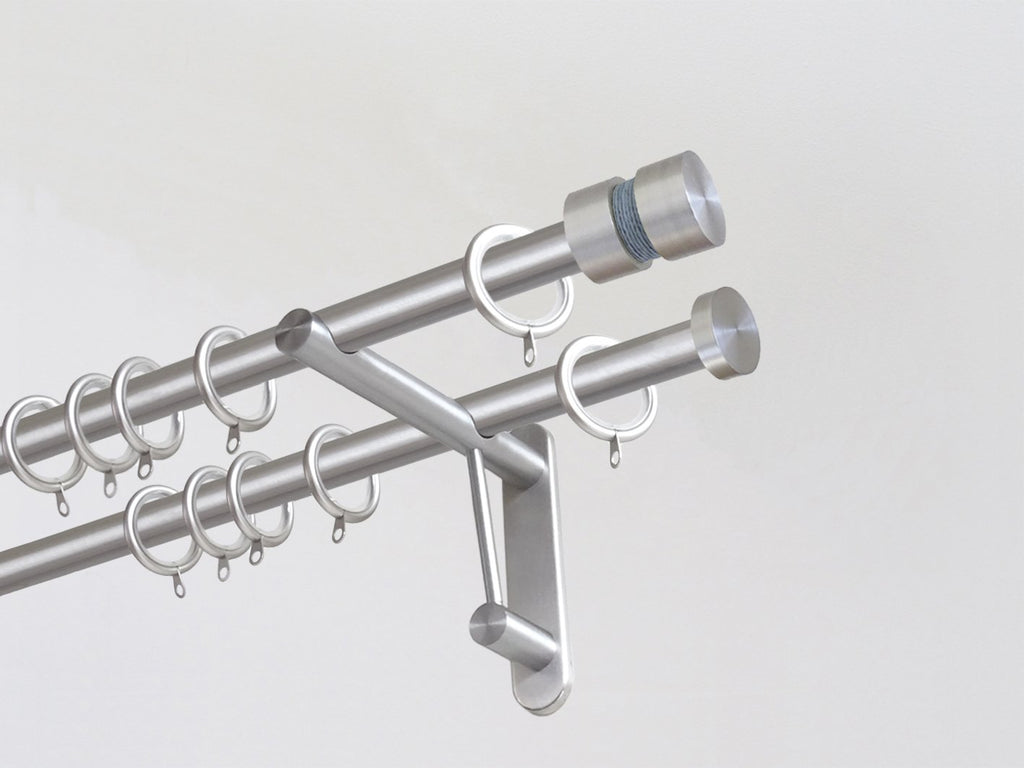 19mm diameter double stainless steel curtain pole duo system set with groove finials & mist twine