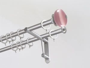 Double 19mm stainless steel curtain pole duo system set with glass moonstone finials in dusky pink