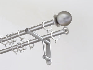 19mm dia. stainless steel double curtain pole set with metal ball finials