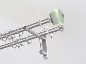 Double 19mm stainless steel curtain pole duo system set with glass moonstone finials in opal