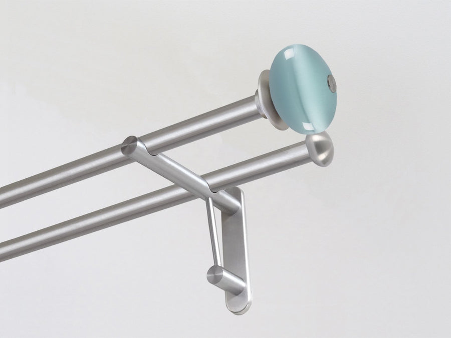 Double 19mm stainless steel curtain pole duo system set with glass moonstone finials in pale aqua