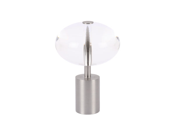 Acrylic ellipse finial in stainless silver 30 mm curtain pole end